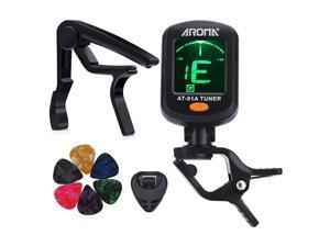 AROMA Tuner Clip on Chromatic Guitar Bass Violin Ukulele Include Guitar Capo and Picks and Holder (Tuner+Capo)