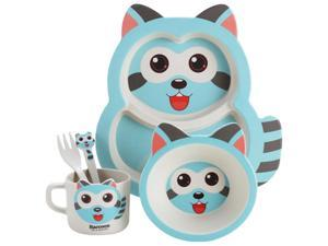 5Pcs/Set Baby Dish Training Tableware Children Cute Raccoon Feeding Food Dishes Kids Dinnerware with Bowl Cup Spoon Fork Plate Blue