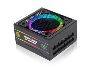 ESGAMING 750 Watt Power Supply, 80 Plus Gold Certified PSU, Fully Modular RGB Gaming PC Power Supply
