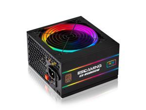ESGAMING 650W Power Supply, 80 Plus Bronze Certified PSU, Gaming PC Power Supply with Addressable RGB Light