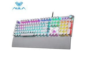 AULA F2088 Mechanical Gaming Keyboard with Detachable Wrist Rest/Media Knob/Metal Panel/LED Rainbow Backlit, 104 Keys Anti-ghosting Programmable USB Wired PC Games Keyboards - White/Silver