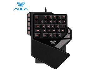AULA One-Handed Gaming Keyboard Backlight Color 27keys Anti-Ghosting Portable Mini Gaming Keypad Controller for Laptop Computer