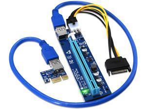 6pcs PCI-E Riser for Bitcoin-Litecoin-ETH Coin PCIe 6 PIN 16x to 1x Powered Riser Adapter Card 6-Pin PCI-E to SATA Power Cable-GPU Riser Adapter-Ethereum Mining ETH