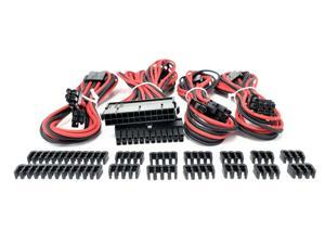 Micro Connectors Premium Sleeved PSU Cable Extension Kit (Red/Black)