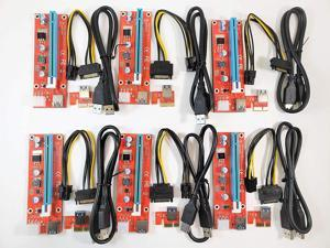 Micro Connectors PCIe 6-Pin 16x to 1x Powered Riser Adapter Card (Red) 6-Pack