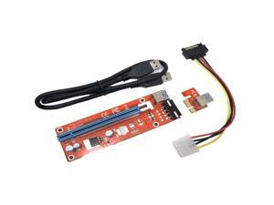 Micro Connectors PCIe 4-Pin 16x to 1x Powered Riser Adapter Card (Red)