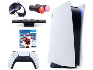 Playstation Console and PS VR Bundle - PS5 Digital Version with Wireless Controller, PSVR Headset, Camera, Move Motion Controller, Iron Man Game & Accessories