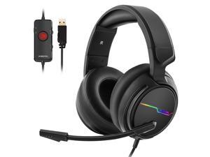 Xiberia USB Pro Gaming Headset for PC- 7.1 Surround Sound Headphones with Noise Cancelling Mic- Memory Foam Ear Pads RGB Lights for Laptops