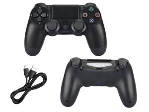 PS4 Accessories,PS4 Wireless Gamepad Controller,DualShock 4 Wireless Controller for PlayStation 4,Touch Panel Gamepad with Dual Vibration and Audio Function, LED Indicator USB Cable - black