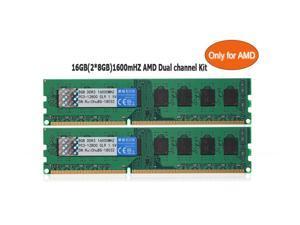 RuiChu AMD RAM Desktop RAM 16GB(2*8GB) DDR3 Memory 1600mHZ AMD Edition Support Dual Channel Memory DDR3 PC3 12800 1.5V 240-Pin Non ECC Only for AMD Desktop