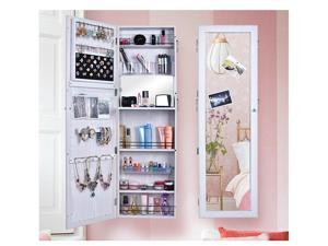 Wall Door Mounted Mirrored Jewelry Cabinet Armoire Storage Organizer Home Decor