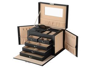 Lockable Jewelry Box Storage 20 Slot Large Multi-Layer Leather Organizer Case