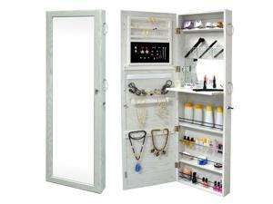 Wall Door Mounted Mirrored Jewelry Cabinet Armoire Storage Organizer Home Room