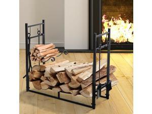 Wood Storage Rack Log Holder with Kindling Holder and 4 Tools Indoor Outdoor