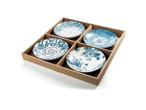 NEW 4 Porcelain Blue and White Round Shallow Dish Appetizer Plates  ®