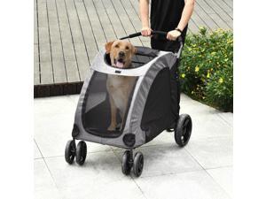 Pet Stroller Universal Wheel with Storage Basket