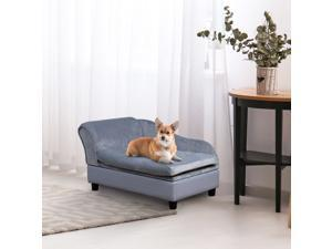 Pet Sofa Couch with Storage Function Sponge Cushioned Bed Lounge Dog Cat