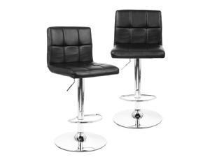 ® 2Pack Swivel Adjustable Bonded-Leather Bar Stool, Black
