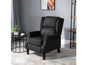 """30.7"""" Heated Vibrng Suede Massage Recliner Sofa Armchair w/Remote Control BK"""