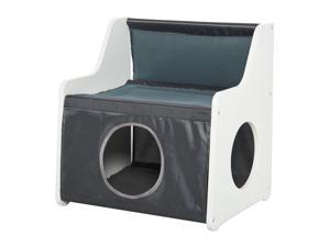 Cat House Two-tier Cat Condo Tree for Indoor Living Room w/ Scratcher Pad
