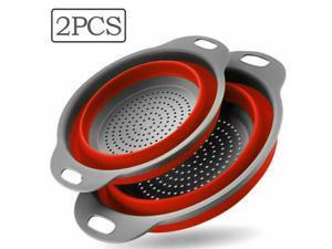 Foldable Silicone Collapsible Colander Fruit Vegetable Kitchen Strainer Basket
