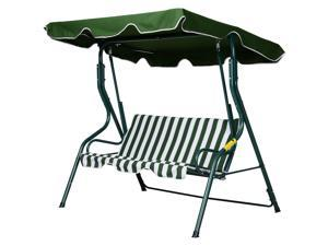 Outdoor Metal 3- seat Porch Swing Chair Po Garden Poolside Canopy, Stripes