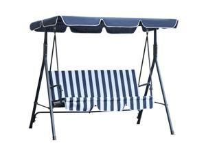 Outdoor 3-person Metal Porch Swing Chair Bench Canopy Blue