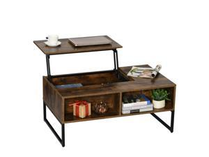 Foldable  Lift Top Coffee Table Convertible Furniture with 2 Storage