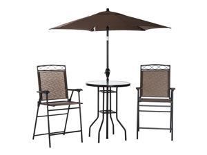 4pcs Po Sling Dining Set Folding Outdoor Furniture Umbrella Brown