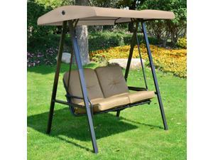 2 Seater Outdoor Swing Chair Hammock Bench Cushioned Seat Tilt Canopy Backyard