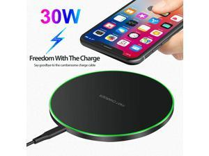 30W Quick Qi Wireless Fast Charging Charger For Pad Mat for Galaxy S20 S9 S10 S8