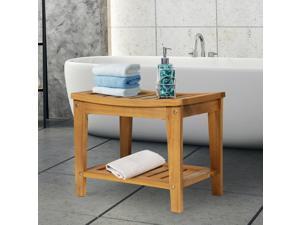 Indoor Outdoor Acacia Wood Shower Bench Spa Chair Seat Organizer Storage Shelf