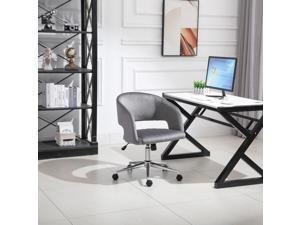 Leisure Office Chair Velvet Swivel Computer Desk Chair for Home w/ Wheel, Grey