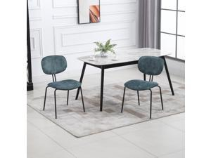 Mid-Century Dining Chairs Upholstered Fabric Accent Chairs with Metal Legs