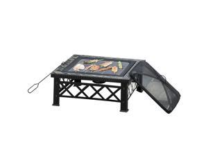 """30"""" Square Fire Pit Steel Stove W/ Mesh Cover Grill Net Outdoor"""