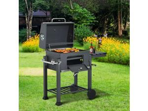 Charcoal Grill Barbecue Cooking Trolley Portable Camping Picnic Po w/ Side