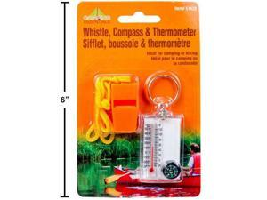 Camping Whistle, Compass  Thermometer Set 1Pc