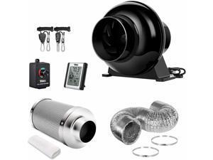 4'' 195 CFM Inline Fan Carbon Filter 8 Feet Ducting Ventilon Kits