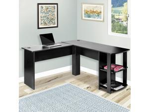 L-Shaped Corner Desk Gaming Desk Home Office Desk Computer Desk Study Workstation Furniture with 2 Open Storage Bookshelves PC Table Writing Table with Maximize Office Space (Black)