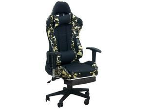 Ergonomic Gaming Chair | Home Office Chair | Adjustable Swivel Leather Computer Chair | High Back Desk Chair with Smooth PU Leather,Headrest,Footrest,Lumbar Support and Tilt Locking Mechanism  Pillow
