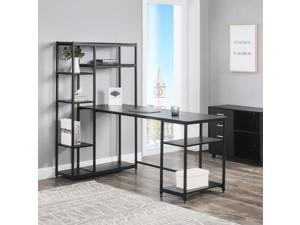 Office Computer desk with multiple storage shelves, Modern Large Office Desk with Bookshelf and storage space (Black)