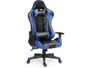 Gaming Chair Racing Office Computer Game Chair Ergonomic Backrest and Seat Height Adjustment with Pillows Recliner Swivel Rocker Headrest and Lumbar Tilt E-Sports Chair