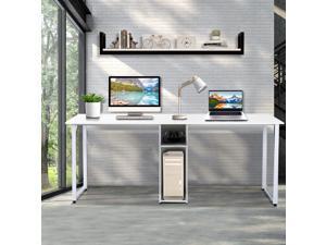 Home Office Desk 2-Person Desk Large Double Workstation Desk Computer Desk Writing Desk Gaming Desk with Storage