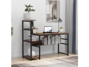 """59"""" Home Office Computer Desk Large Modern Office Desk Study Writing Table Gaming Desk Workstation with 4-Tier Storage Shelves, Bookshelf and Tower Shelf Brown"""