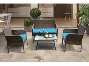 4 Piece Rattan Sofa Seating Group Outdoor Ratten Sofa with Cushions
