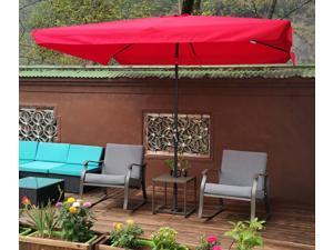10 x 6.5ft Rectangular Patio Umbrella Outdoor Market Umbrellas with Crank and Push Button Tilt for Garden Swimming Pool Market
