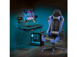 Ergonomic Gaming Chair Racing Chair E-Sports Chair Home Office Chair Computer Game Chair Backrest and Seat Height Adjustable Chair with PU Leather Lumbar Support and Headrest