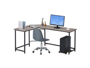 """66"""" L-shaped Desk Home Office Desk Corner Desk Computer Desk Gaming Desk Large Workstation with Steel Structure"""