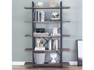 5-Shelf Vintage Industrial Style Bookcase, Rustic Farmhouse Storage Shelves with Metal Frame, Open Wide Office Etagere Book Shelf