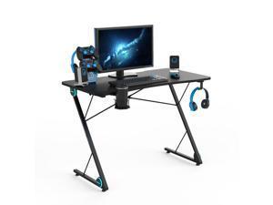 43 Inch Z-Shaped Gaming Desk Ergonomic Home Office Computer Desk with LED Lights Large Carbon Fiber Surface  Game Handles Holder Cup Holder Headphone Hook Black